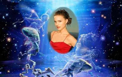 Фотографию вставить в рамку онлайн с рисованным знаком зодиака Рыбы сделать oline