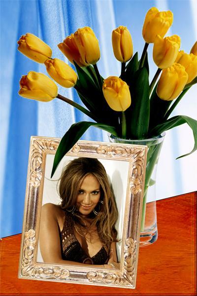 нехитрый вставить фото в рамку с тюльпанами ещё