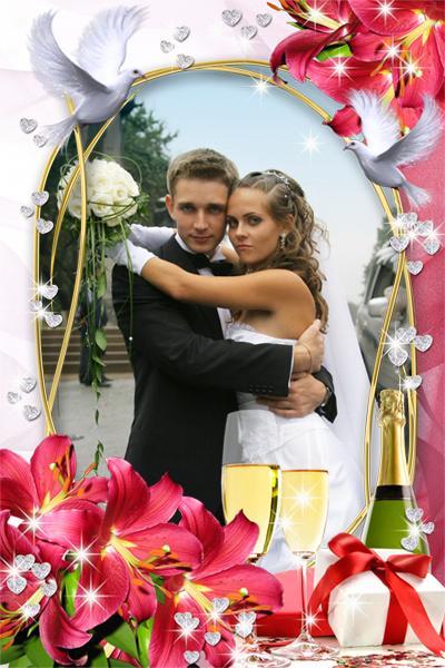 Вставить свое фото в картинку свадебную онлайн, днем рождения